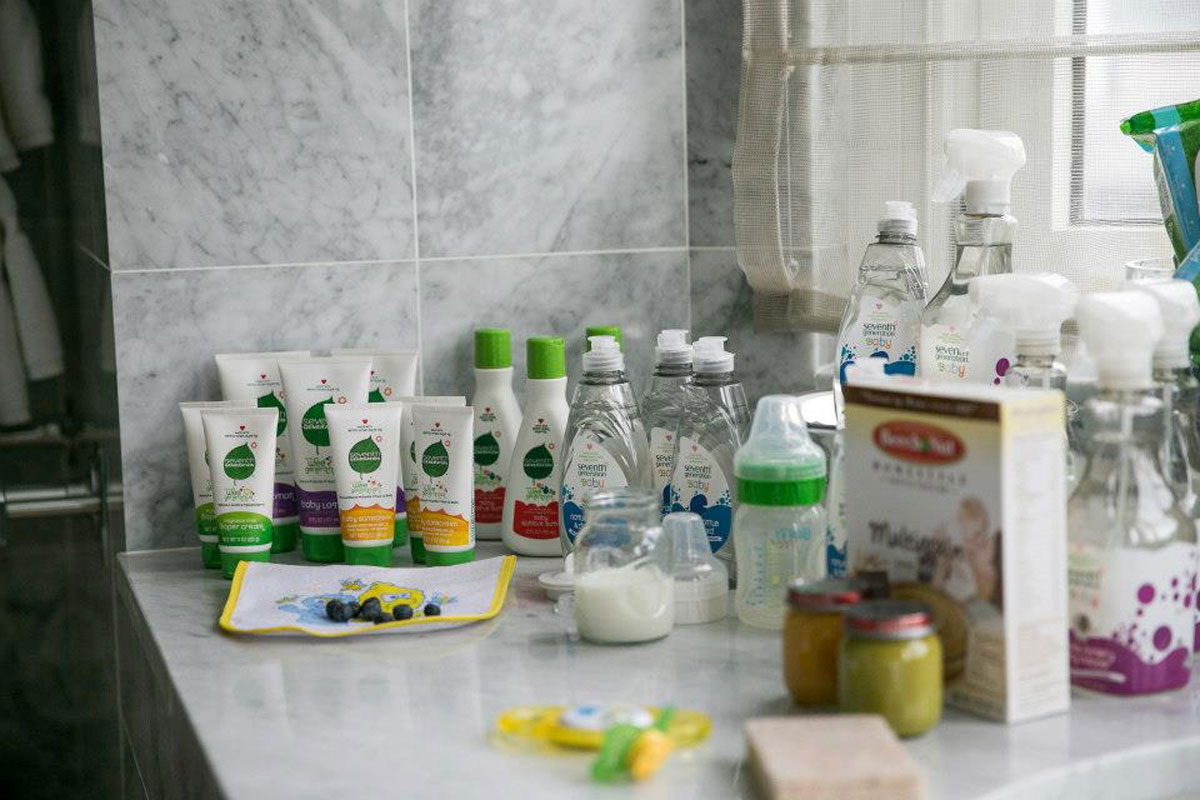 display of baby products on a counter at cbc parenting house
