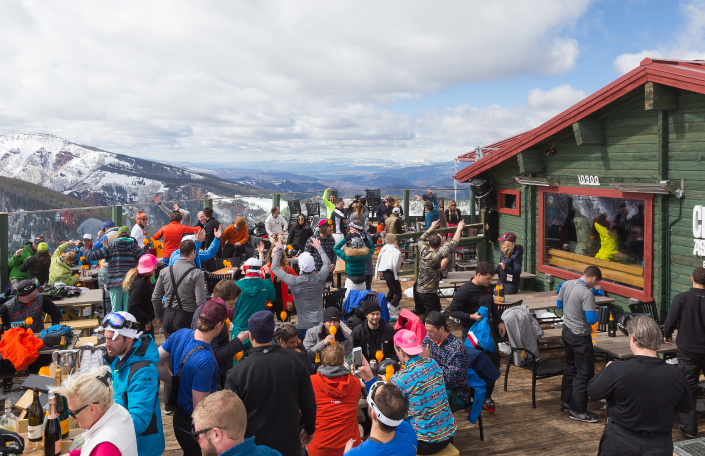 Influencers and press on rooftop bar at Aspen experience