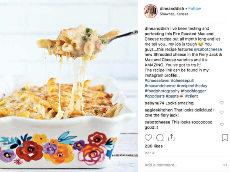 Cabot Influencer Instagram post