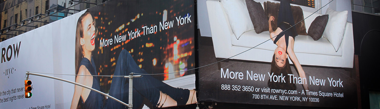 Billboards from Row NYC Hotel advertising campaign
