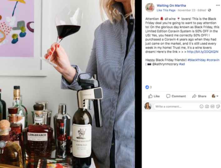 Facebook post of Influencer drinking wine using a Coravin system