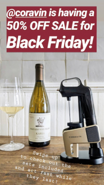Instagram Story of a Coravin system and bottle of wine for Black Friday sale