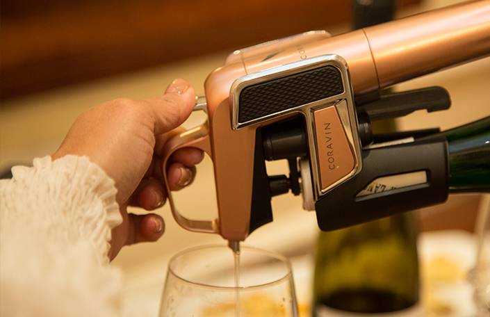 Pouring wine from a Coravin
