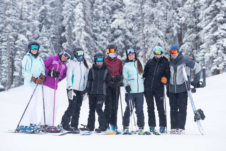Group of influencers skiing at the Aspen Experience
