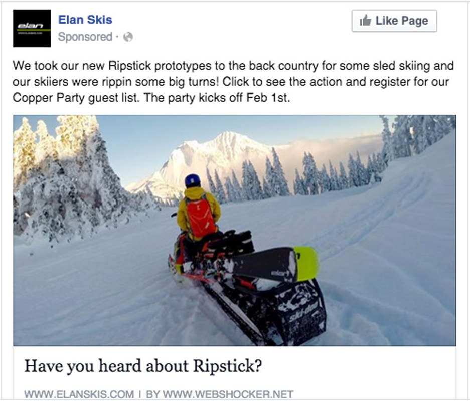 Facebook post of man using Elan Skis Ripstick