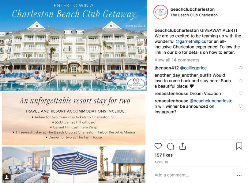 Instagram Post of Garnet Hill's and The Beach Club Charleston integrated digital campaign ad