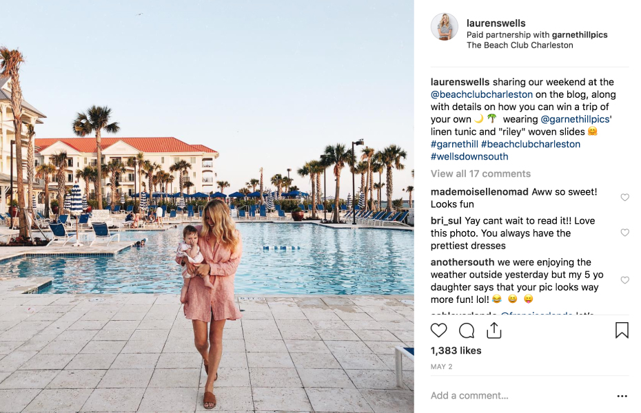 Instagram Post of Garnet Hill influencer and child outside of the The Beach Club Charleston pool