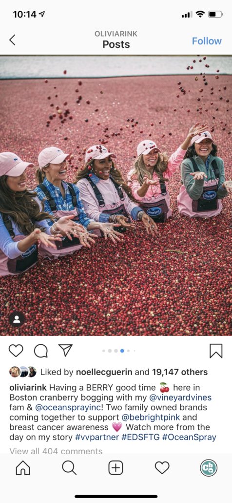 Vineyard Vines Ocean Spray Experiential Campaign with Influencers results example