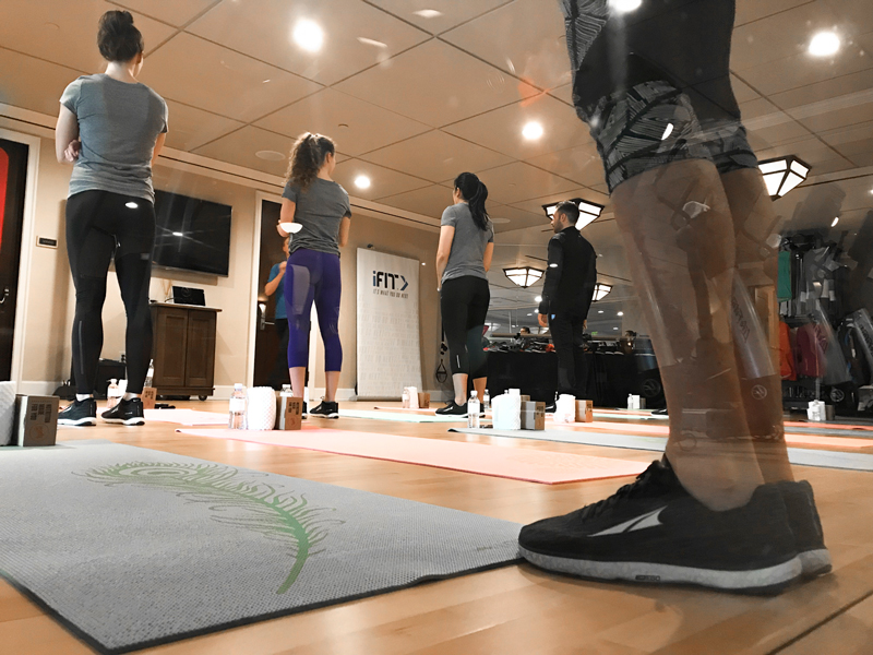 Influencers and editors taking a yoga class at Deer Valley Experience