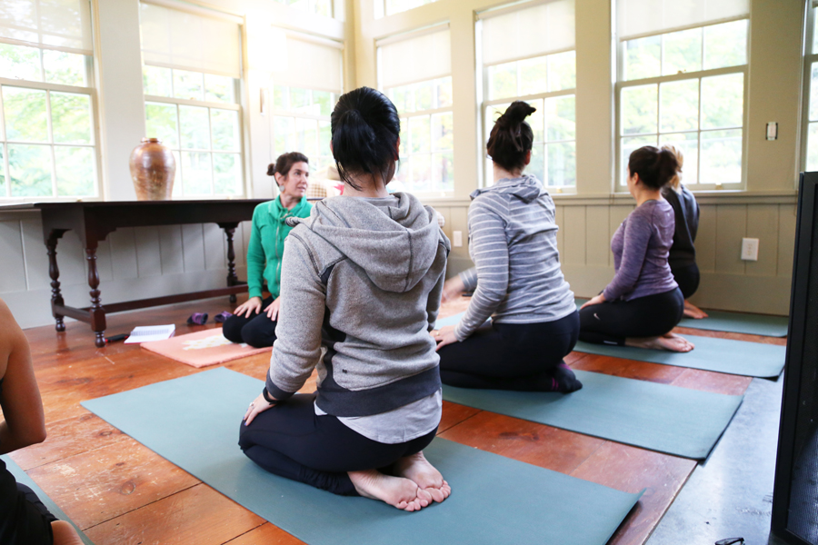 Yoga class at Garnet Hill Hudson House media retreat