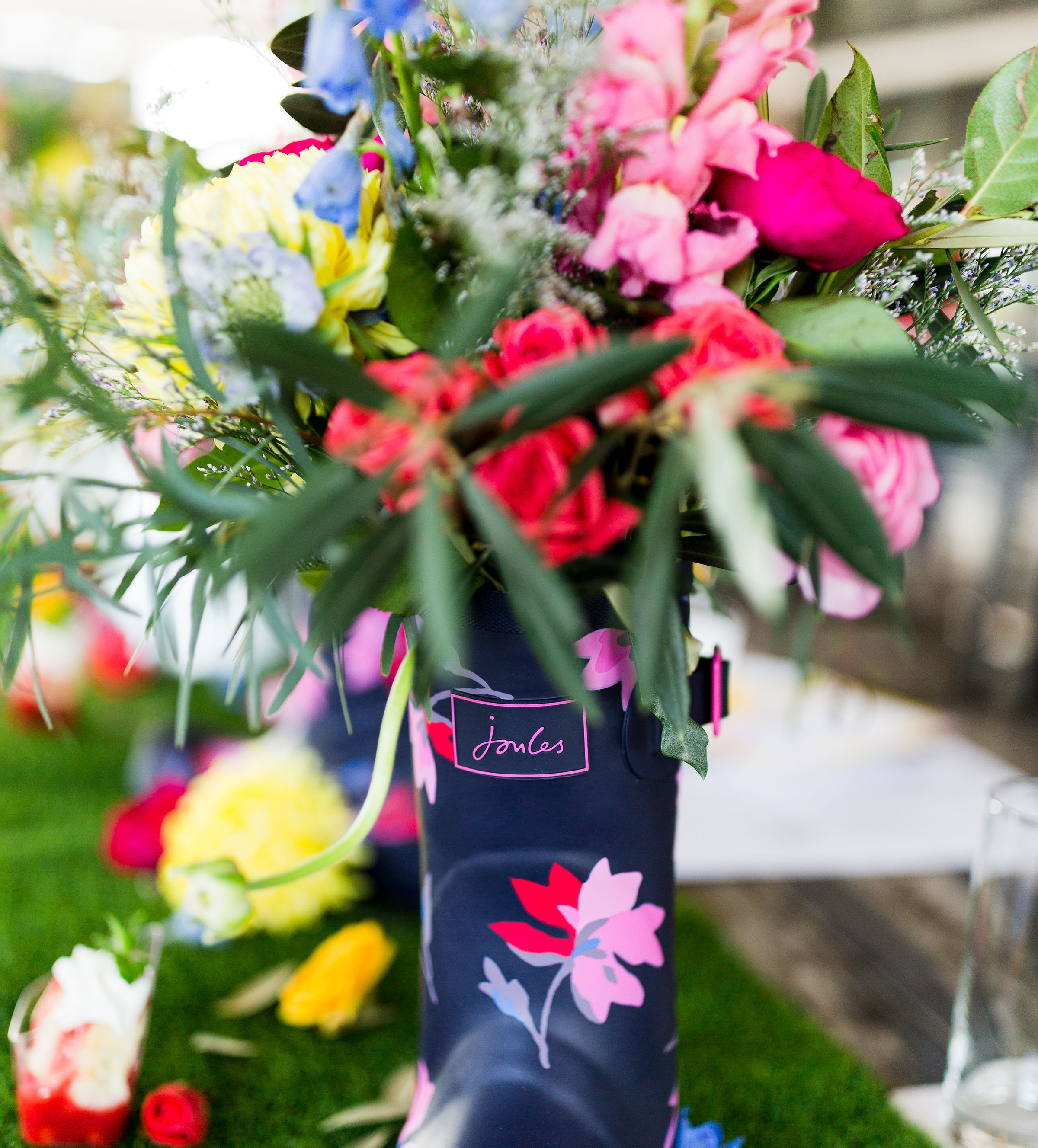 Joules rain boot with flowers