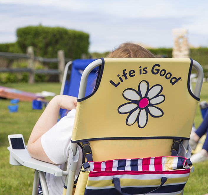 Life is Good lawn chair at summer party