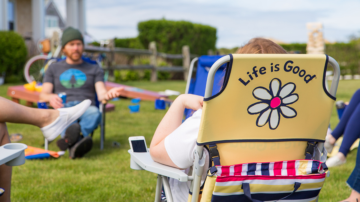 Life is Good lawn chair at summer barbecue party