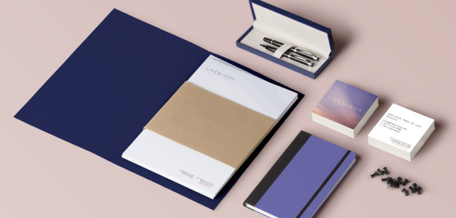 Likeminds branded notebook, business cards, and pens