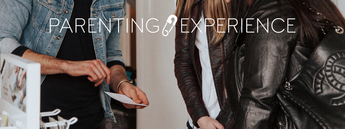 Parenting Experience logo with people talking in background