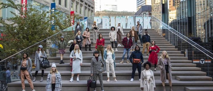 Primark fashion models posed on Boston Downtown Crossing stairs