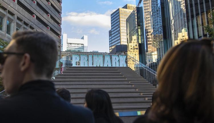 Stairs in Downtown Crossing with massive Primark sign