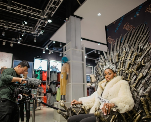Game of Thrones fans arrived at Primark to pose on the real Iron Throne