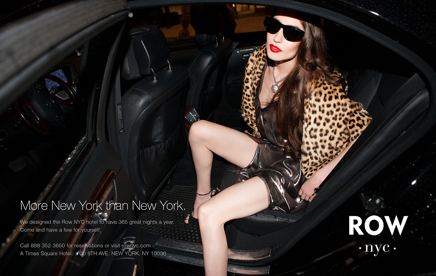 Model getting out of car for Row NYC ad