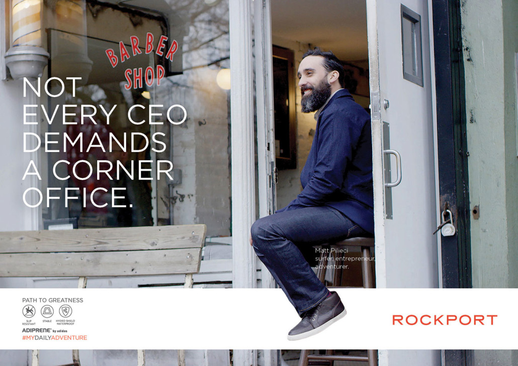 Man at barber shop wearing Rockport shoes