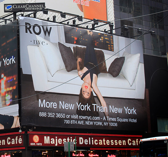 Billboard from Row NYC Hotel creative campaign