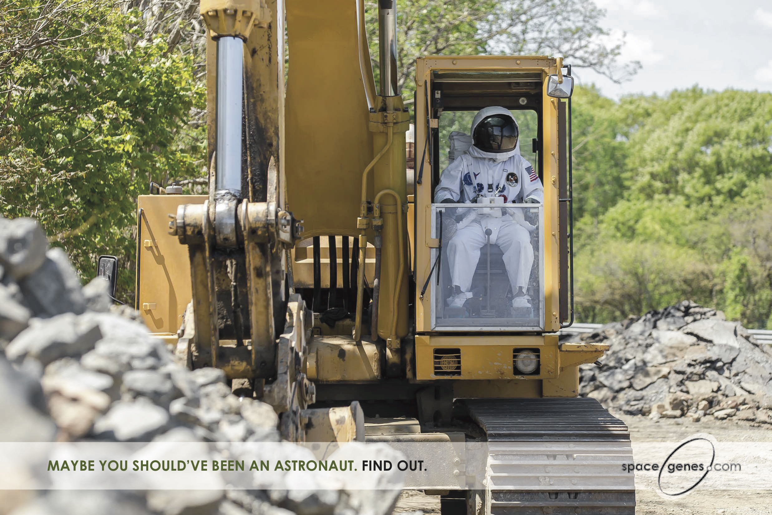 Construction worker dressed as astronaut in Veritas Genetics ad