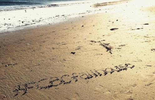 Beach sand at sunset