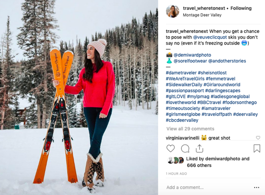 Instagram post of woman with skis