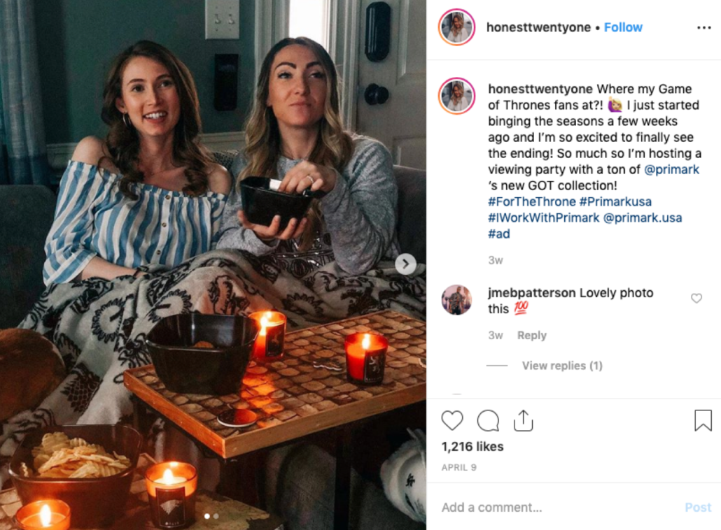Influencers promoting Primark's Game of Thrones line through at-home viewing parties