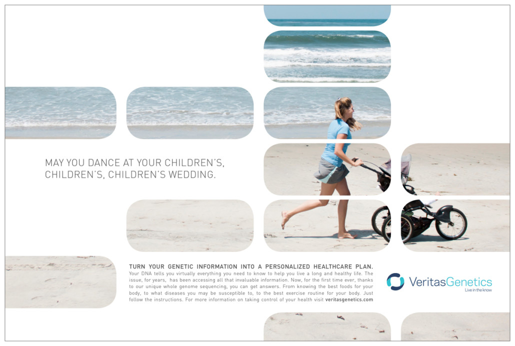Woman running on the beach with a stroller for Veritas Genetics Ad