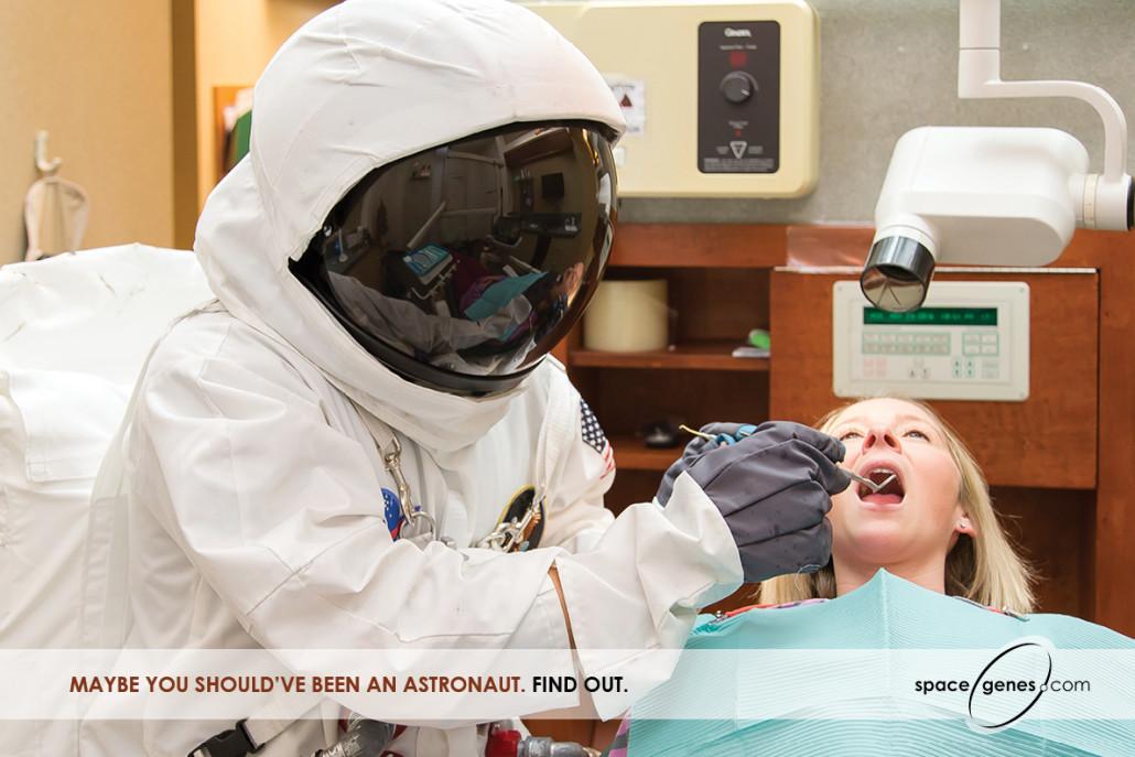 Dentist in astronaut suit in Space Genes ad for Veritas Genetics