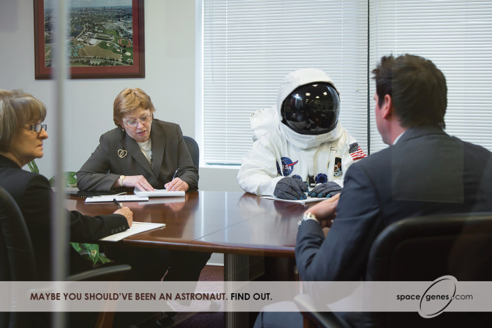 Astronaut in boardroom for Veritas Genetics advertisement
