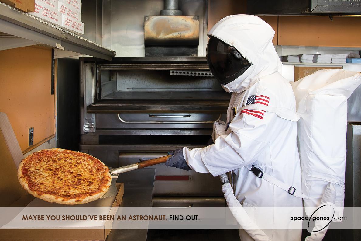 Astronaut making pizza in Space Genes ad for Veritas Genetics