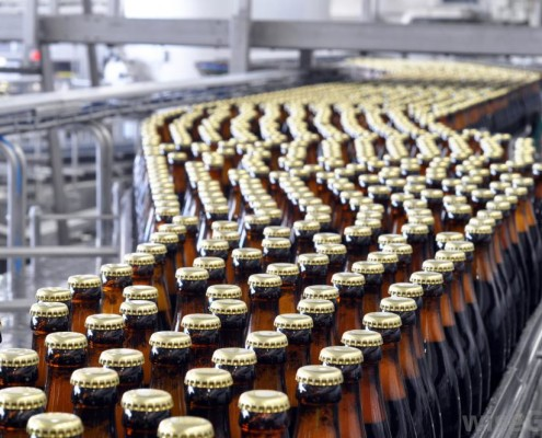 Bottle on an assembly line