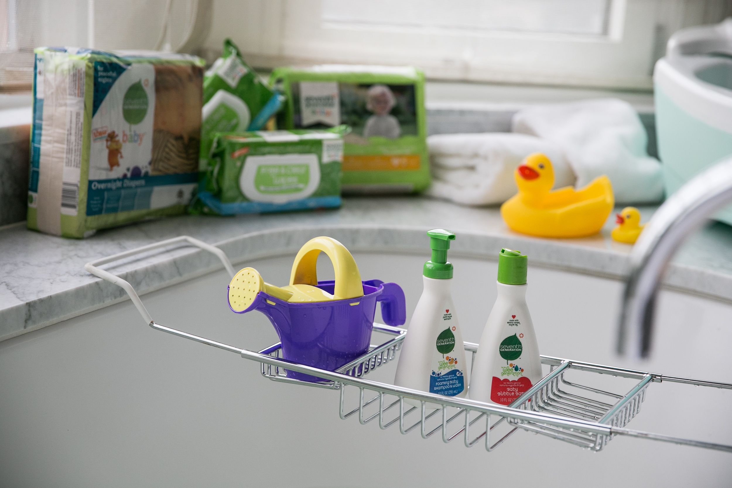 baby bath products surrounding a sink at cbc parenting house