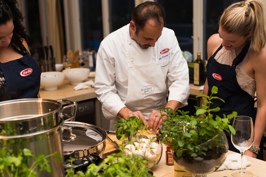 Chef teaching influencers how to cute vegetables at Culinary House