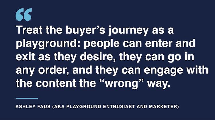 Treat the buyer's journey as a playground - there's no right way to engage with content