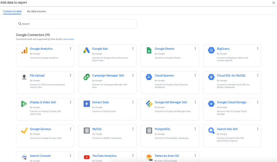 Data sources and connectors available in Google Data Studio