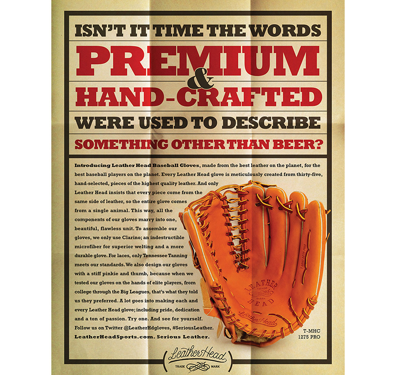 Marketing collateral for premium Leather Head baseball gloves