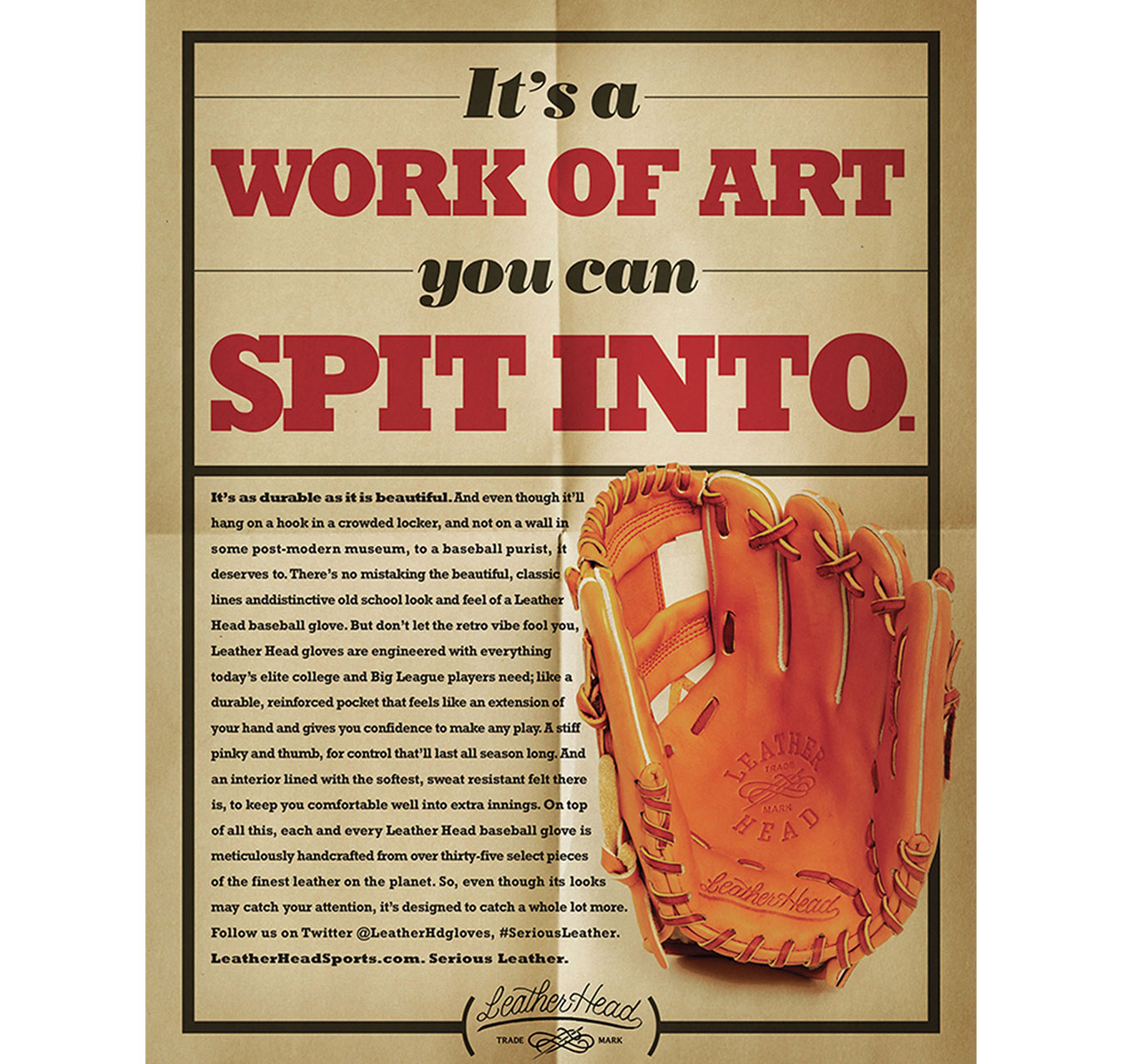 Ad for premium Leather Head baseball gloves