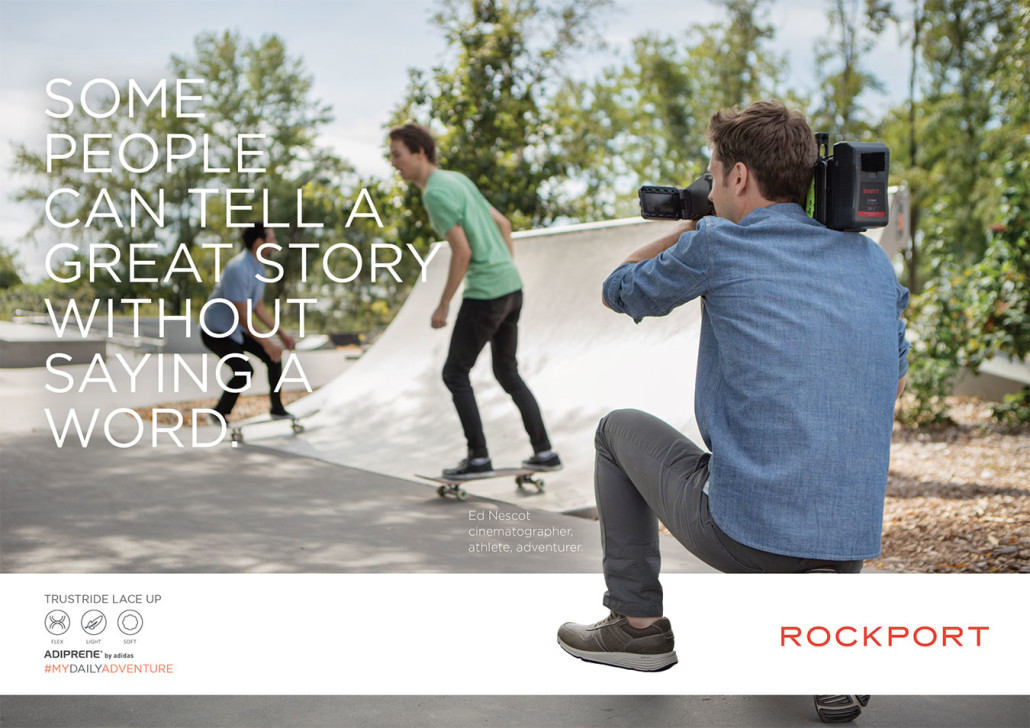 Man filming commercial wearing Rockport shoes
